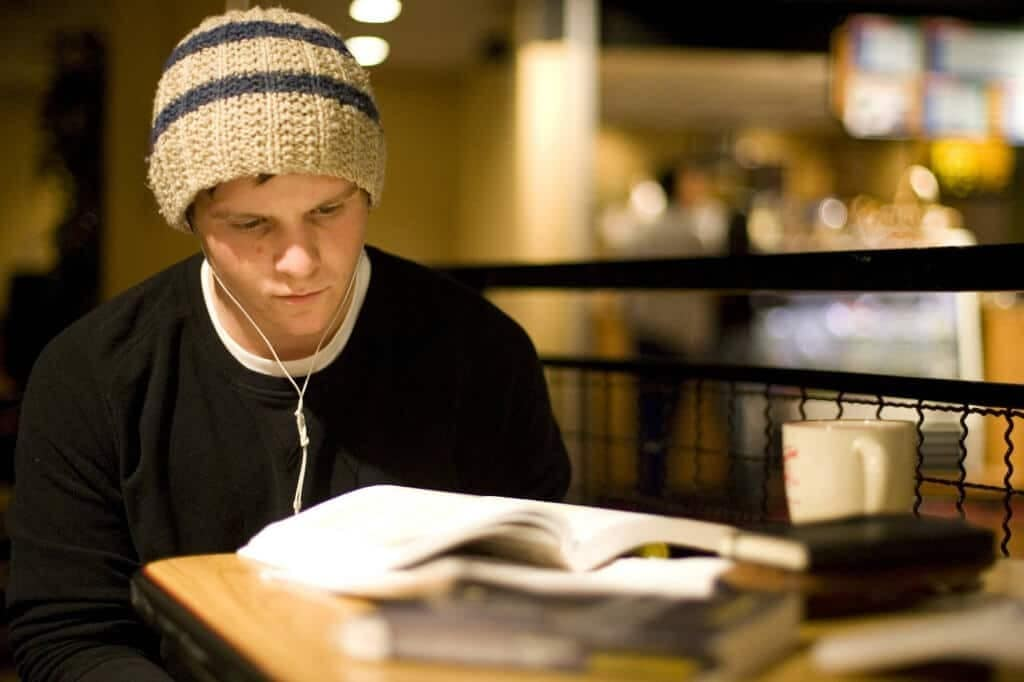 Student studying  by Don Hamerman For Rutgers Photo Services