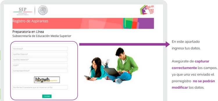 Llenado de registro de solicitud de ingreso